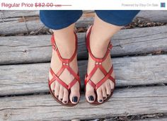 Sale 20% OFF, Red Leather Sandals, Red Sandals, Summer Shoes, Flat Sandals, Straps Sandals