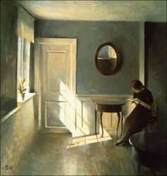 A Girl Reading In An Interior Vilhelm Hammershøi was born in 1864 in Copenhagen, Denmark. The son of a well-to-do merchant, Christian Hammershøi, and his wife, Frederikke (née Rentzmann), Hammershøi studied drawing from the age of eight with Niels Christian Kierkegaard and Holger Grønvold, as well as painting with Vilhelm Kyhn, before embarking on studies with Frederik Vermehren and others at the Royal Danish Academy of Fine Arts. From 1883 to 1885, he studied with Peder Severin Krøyer at…