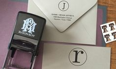 Self-inking stamp neatly marks your address or announcements onto letters and envelopes; optional interchangeable design plates