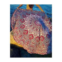 Red Psychedelic Star Mandala Bohemian Roundie Beach Throw – TheNanoDesigns