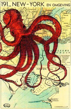 Octopus Drucke Kunstkarte Illustration von Dictionary auf DaWanda.com