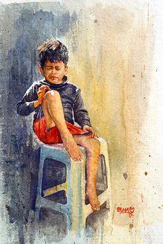 - Watercolor painting by Mahboob Raja 'Elham' - Doodlewash Poster Color Painting, Watercolor Portrait Painting, Watercolor Art Face, Watercolor Paintings For Beginners, Watercolor Paintings Abstract, Abstract Art, Watercolors, 3 Piece Canvas Art, Indian Art Paintings