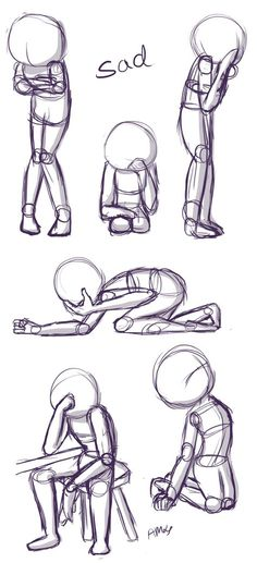 Sad Positions: This is a quick little reference sheet of sad poses. If you'd like to see more poses along with tips, visit the video I attached to this pin!
