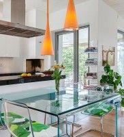 Living Room, Modern Villa Kitchen With Glass Door: Modern Villa Bathroom With Purple Lightning
