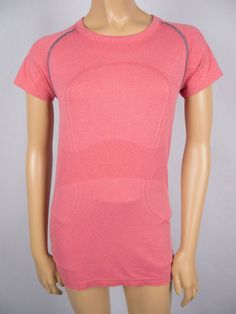 LULULEMON Run Swiftly Shirt 8 M Pink Breathable Mesh Short Sleeve X Static Top