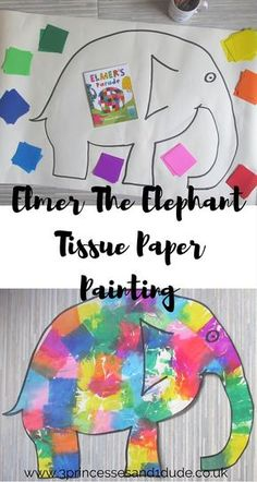 Elmer the Elephant tissue paper painting
