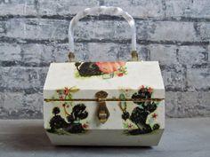 Vintage Box Purse . 60s Wooden Decoupaged by GinnyandHarriot
