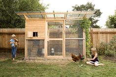 """Winter coop with expanded yard. Great for letting in as much sun as possible in the winter.""""Garden Coop"""" Building Plans (up to 8 chickens) from My Pet Chicken Walk In Chicken Coop, My Pet Chicken, Easy Chicken Coop, Chicken Coup, Backyard Chicken Coops, Building A Chicken Coop, Chicken Runs, Chickens Backyard, Chicken Coop Pallets"""