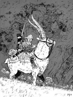 "hungryghoast: ""Daniel Warren Johnson "" From Princess Mononoke Illustration Design Graphique, Art Et Illustration, Character Illustration, Comic Sketch, Art Studio Ghibli, Drawn Art, Art Watercolor, Ghibli Movies, Animation"