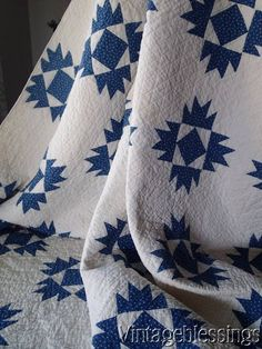 """$295 Beautiful! ANTIQUE c1880 Indigo Blue & White QUILT  """"Union Square"""" www.Vintageblessings.com"""