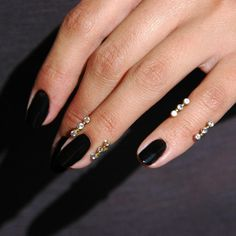 Gold and zircon midi ring for above the knuckle