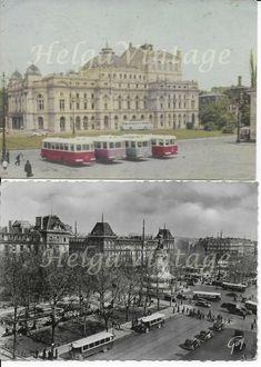2 Vintage/retro French/Polish postcards with cityscapes, buses Paris, Krakow Sightseeing Bus, French Polish, Krakow, Cityscapes, Vintage Postcards, Buses, Retro Vintage, Paris, Vehicles