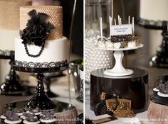 Slightly spooky yet sophisticated idea for a Halloween dessert table look.