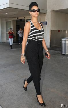 Rihanna in Black High Waisted Genie Trouser