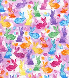Easter Cotton Fabric 44''-Watercolor Bunniesnull