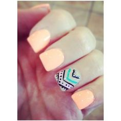 Light peach color with aztec ring finger. Nails Pretty Nails with Gold Details nails ideas nails design Manicure Ideas featured Get Nails, Fancy Nails, How To Do Nails, Pretty Nails, Nail Art 2014, Tribal Nails, Chevron Nails, Nautical Nails, Girly