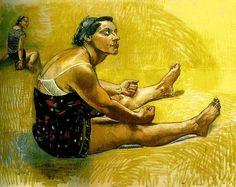 """Esperando por Comida , 1994 (Série Mulher-Cão) - Passa o lado mais escravizado da mulher, esta representada de maneira """"animal"""" estando esta à espera que alguém lhe de de comer."""