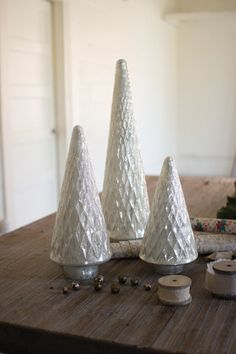 Kalalou Pearl White Glass Enamel Christmas Trees - Set Of 3