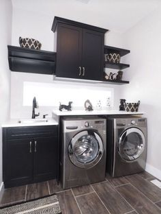 Paris designed Black and White Laundry Room with Grey Accents and Floors via Le Petit Chou Chou