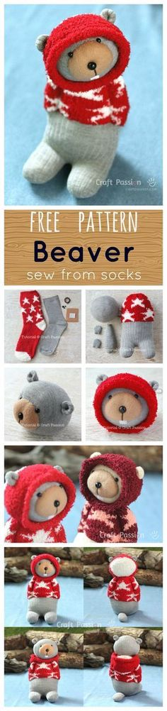 Free pattern, Beaver sewed from socks