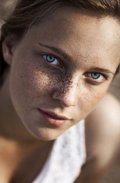 ♀ woman portrait face of a girl with Freckles