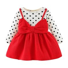 Baby / Toddler Faux-two Polka Dots Bowknot Decor Dress Baby / Kleinkind Faux-Two Polka Dots Bowknot Decor Kleid Baby Girl Fashion, Kids Fashion, Fashion Ideas, Baby Girl Newborn, Baby Girls, Baby Girl Fall, Autumn Girl, Baby Baby, Kids Girls