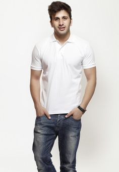 Solid White short Sleeve Polo T Shirt  Price : Rs.449