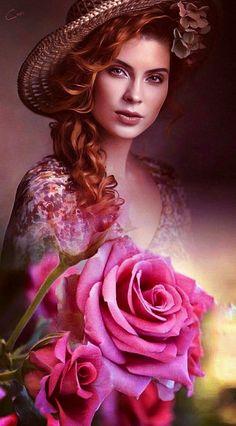 Beautiful Gif, Simply Beautiful, Beautiful Women, Female Portrait, Female Art, Fantasy Art Women, Floral Hair, Girl Pictures, Art Girl