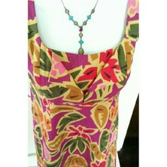 **FLASH**Talbots Tropical Print Dress Gorgeous tropical print dress shades of green, purple,  red, and pink combine for a delicious look on a mustard background. It has a hidden zipper. Linen and rayon blend. Talbots Dresses Midi
