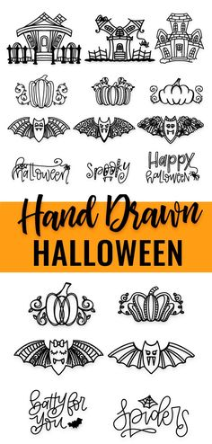 This Hand Drawn Halloween Svg Bundle Includes Fun Halloween Doodles ~ dieses handgezeichnete halloween-svg-bundle enthält lustige halloween-doodles ~ ~ Norman Rockwell thanksgiving art. Halloween Fonts, Halloween Doodle, Halloween Design, Halloween Frames, Haunted House Drawing, Define Art, Thanksgiving Art, What Is Meant, Silhouette Cameo Projects