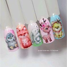 Animal Nail Designs, Animal Nail Art, Nail Art Designs, Nails For Kids, Acrylic Nails, Cute Animals, Stickers, Beauty, Pretty Toe Nails