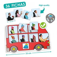 Throw the dice and fill the corresponding bus with the passengers, matching the picture on the dice to the picture on the side of the bus. Learning Colors, Learning Games, Early Reading, Teaching Math, Dado, Search, Game Mechanics, Camp Trunks, Teaching Resources