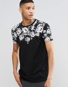 b5cd29bba87 ASOS Super Longline T-Shirt With Rose Print And Curved Hem T Shirt Vest