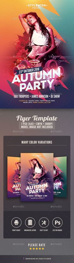 Autumn Party Flyer  — PSD Template • Only available here ➝…