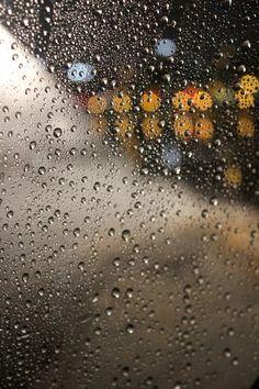 Raindrops on the plane window in Boston.