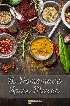 Get our 20 favorite spice mixes in a neat printable PDF! Making your own spice blend at home is much healthier and cheaper than paying $1 or more for a packet at the store. These homemade spice mixes include chili, Italian seasoning, ranch dip, onion dip,