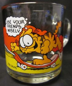 """$7.98 + Free Shipping each #Garfield #McDonald's #Mugs #1978 #Vintage Glass """"Use Your Friends Wisely"""" and """"It's Not A Pretty Life But Somebody Has To Live It"""".   GARFIELD MCDONALD'S JIM DAVIS Mug Glass Cat Friends Collectible '78 VTG 3.5"""" #UNITEDFEATURESYNDICATE"""