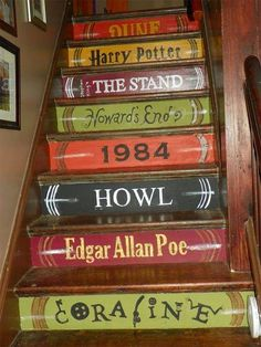 Stair Style Makeover Your Stairs! Lots of Ideas and Tutorials! Including from 'sascha fink' these hand painted book spine steps.