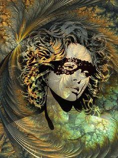 Девушка с грустными глазами, в черных, ажурных очках с на фоне абстрактного фрактала из растений, линий