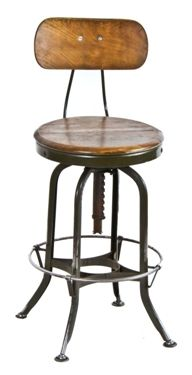 1920 S Uhl Art Steel Maple Wood Swivel Top Toledo Factory Stool With Heel Or