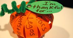 The Thanksgiving crafts continue  in our home this week with thankful pumpkins!       The kids really enjoyed making these. Well, they didn...