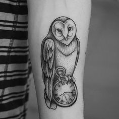 My first Dotwork Tattoo at Tattoo Fashion, Åarhus, Denmark. Client wanted an Owl with watch. He loved my dot work style and requested for the same. so here it is Dotwork Owl tattoo. Check it out people you are gonna love it www.alienstattoos.com #tattoo #