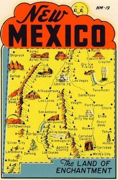 Vintage New Mexico Map New Mexico Map, Hobbs New Mexico, Travel New Mexico, Silver City New Mexico, Carlsbad New Mexico, New Mexico Road Trip, New Mexico Style, Mexico Vacation, New Mexico Albuquerque
