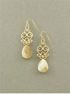 Champagne Mother of Pearl Earrings on Emma Stine Limited