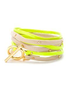 Gorjana Neon Yellow & Bone Leather Graham Double Strand Triple Wrap Bracelet
