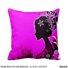Purple Retro 70's Girl Airbrush Art Throw Pillow