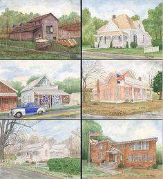Love the artwork of my hometown, Springville Alabama by artist, Clay Allison...slj