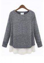 Grey Patchwork Loose Long Sleeve Cotton Blend T-Shirt