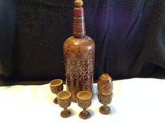 Vintage Wooden Decanter with Five Goblets by RobandJensOddsnEnds