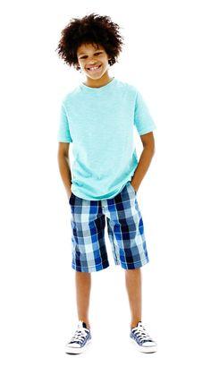 Arizona boys' plaid shorts and tee